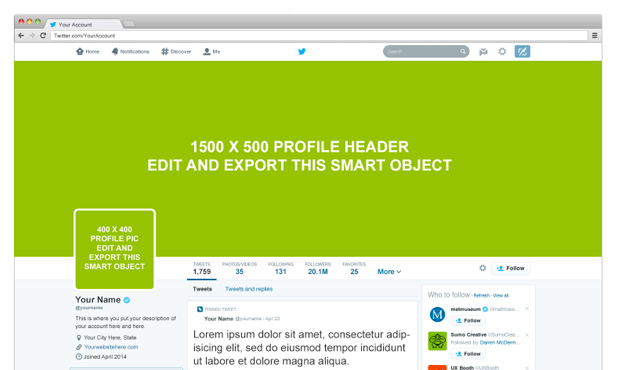 Twitter PSD Mockup Template