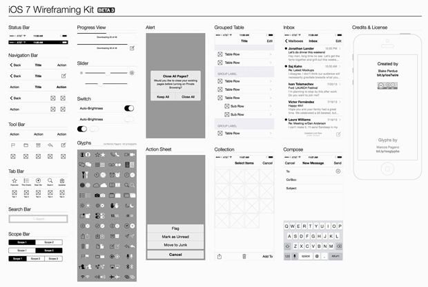 iOS7 Wireframe Kit for Illustrator